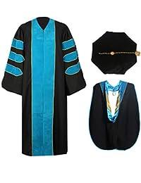 MyGradDay Deluxe Premium Graduation Doctoral Regalia Gown,PHD Hood & 8-Side Tam Package
