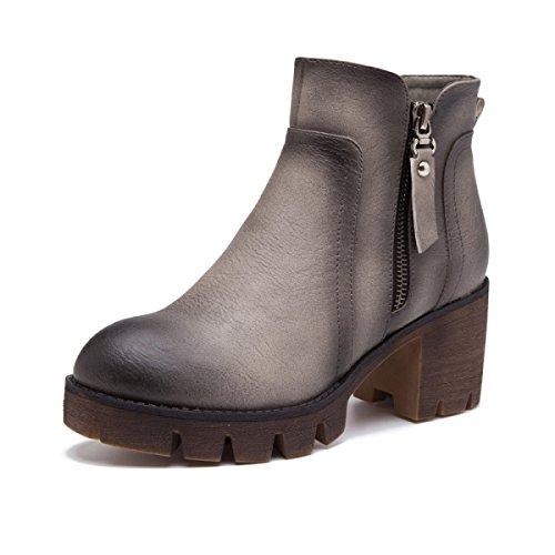 Heel Gray Warm Stiefel Knöchel Schuhe Damen Frauen Kurz Martin Damen Mid Stiefel 75wgAq4x