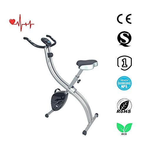 ATIVAFIT Training Foldable Exercise Bike Indoor Fitness Bicycle with Adjustable Seat, Hand Pulse For Home And Office
