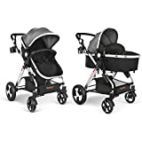 Besrey Baby Pushchair 2 in 1 Baby Stroller Travel System Foldable Infant Buggy with Reversible Bassinet - Grey