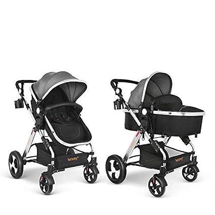 Besrey 2 en 1 Carro Bebe Carritos Bebe con capazo Silla de Paseo Reversible Cochecito Infantil