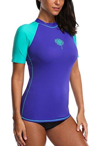 cd06ced9ea0 Sociala Women s Short Sleeve Rash Guard Swim Shirt UPF 50+ Rashguard  Swimsuit