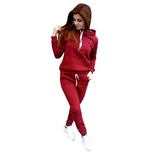 2 Funny Womens Tracksuit - Challyhope Tracksuit, Women Casual Sweatshirt Hoodie + Sweatpants Two-Pieces Outfit (Red, XL)