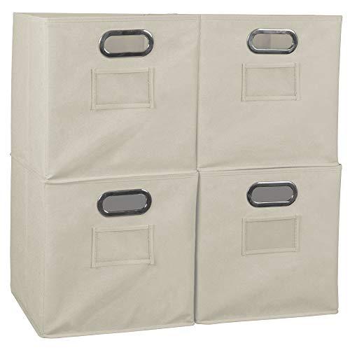 Niche A-FFCB04BG Cheer Home Foldable Fabric Bins Collapsible Cloth Cube Storage Basket Set of 4 Beige