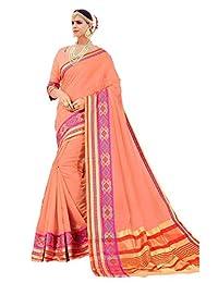 Shonaya Indian Women`S Party Wear Cotton Silk Saree Unstitched Blouse Piece (Orange)