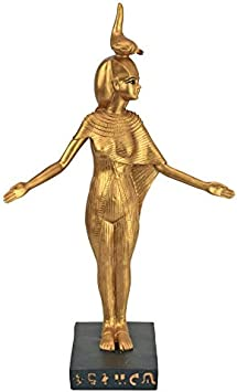 Polyresin Design Toscano Horus Falcon God of the Egyptian Realm Figurine Statue Black and Gold 8 Inch