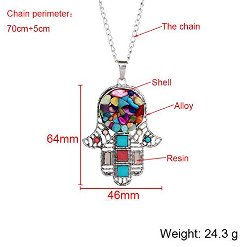 DIYear Multicolor Faux Stone Resin Hand Pendant Long Chain Sweater Necklace Charm Jewelry for Women Girls
