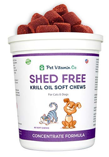 Pet Vitamin Co - Antarctic Krill Oil Shed-Free Soft Chews for Dogs ✅ Rich in Omega 3 & Antioxidants ✅ Improved Skin & Coat ✅ Hypoallergenic ✅ cGMP Certified ✅ Made in USA ✅ 60 Soft Chews ()