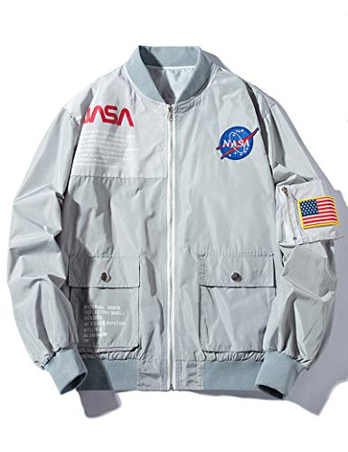 Wildswan MA-1 Bomber Flight NASA Water-Resistant Moto Jacket Wind-Resistant Coat Grey B4034B-XXL