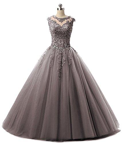 du Gris de robe de APXPF bal formelle robe demoiselle bal de Femme dentelle soir robe tulle de d'honneur w8Tpq1gxTZ