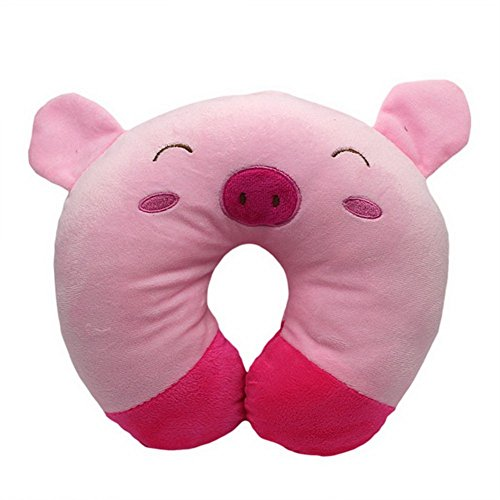 Dimart Pink Cute Cartoon Soft Travel U Neck Pillow Car Airplane Neck Rest Cushion Protect Pig