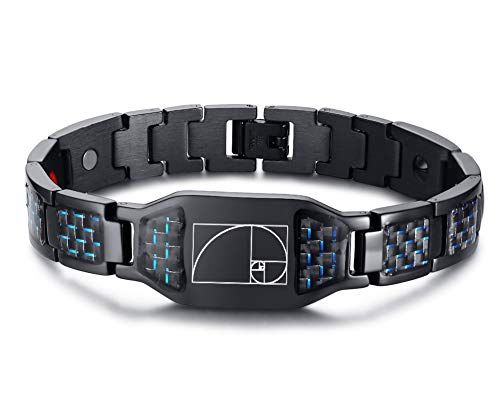 MPRAINBOW Carbon Fiber Magnets Therapy Healing Bracelet Golden Rectangle Fibonacci Spiral Symbol Bracelet for ()