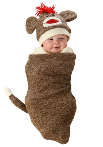 Sock Monkey Costume Amazon (Princess Paradise Baby's Marv The Monkey Deluxe Costume Swaddle, As Shown, 0/3M)