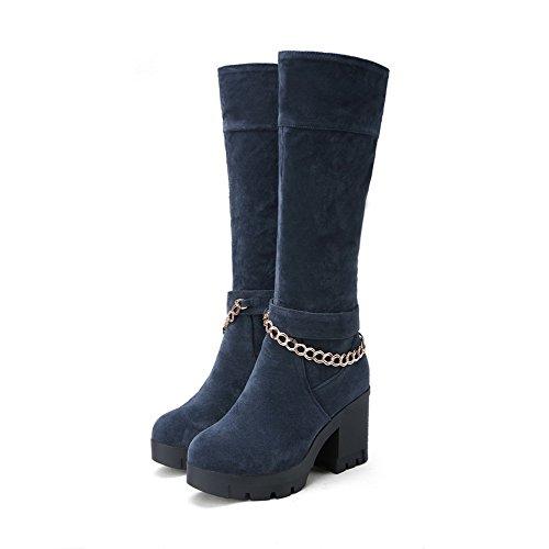 AllhqFashion Damen Knie Hohe Reißverschluss Mattglasbirne Hoher Absatz Rund Zehe Stiefel Blau