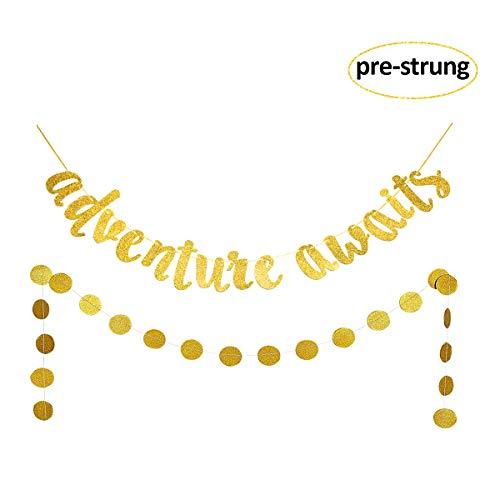 Weimaro Gold Glittery Adventure Awaits Banner Graduation Banner for College Graduation, High School Graduation, Bon Voyage, Travel Theme, Baby Shower, Retirement Party Supplies and Decorations (Pre-strung)]()