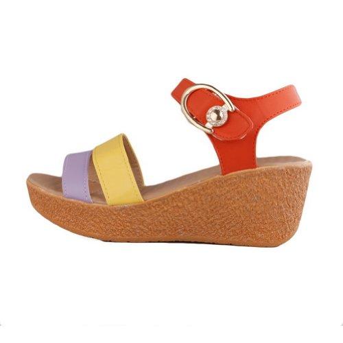 Amoonyfashion Da Donna Open Toe Tacco Medio In Materiale Morbido Sandali Con Colori Assortiti Arancio