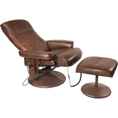 Relaxzen Comfort Soft Reclining Massage Chair and Ottoman, Dark Brown