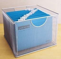 Design Ideas Mesh File Box, Silver