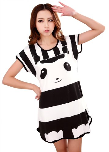 Icibgoods Womens Skirt Summer Panda Print Dress Black and White Black One Size