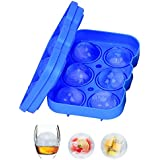 Updated Version Geecol Large Sphere Ice Mold Tray- 6 Giant Ice Ball Leakproof Silicone Mold Ice Maker for Cocktails Whiskey
