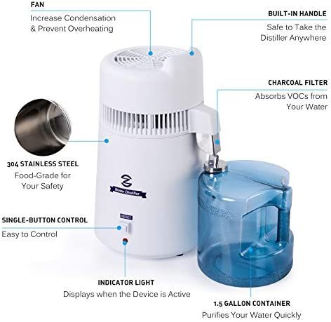 CO-Z Water Distiller, Larger Countertop Home Distillers, Distilling Pure Water Machine for Home Table Desktop, 6L Distilled Water Making Machine, 6 Liter Water Purifier to Make Clean Water for Home