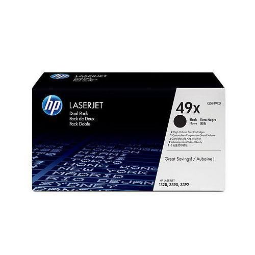 Hewlett Packard HP 49X LaserJet 1320, 3390 AIO Series Smart Print Cartridge Dual Pack (6,000 x 2 Yield) (2 Pack of Q5949X) , Part Number (Laserjet 3390 Series)