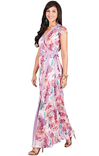 KOH KOH Plus Size Womens Long Cap Sleeve Sexy Wrap Floral Print Spring Summer Casual Vintage Beach Evening Party Floor Length Sundresses Gown Gowns Maxi Dress Dresses, Hot Fuschia Pink 2XL 18-20