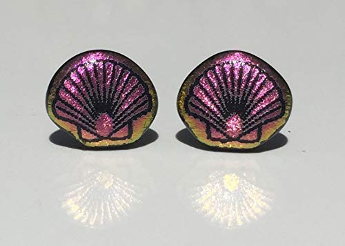 Pink Scallop Shell Laser Engraved Etched Dichroic Fused Glass Stud Earrings with Solid Sterling Silver ()