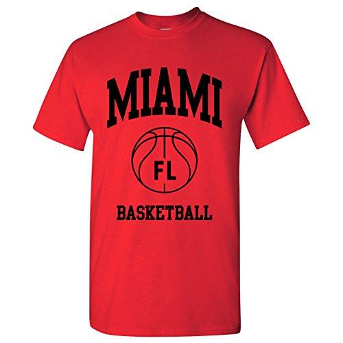 Miami Classic Basketball Arch Basic Cotton T-Shirt - Medium - Red ()
