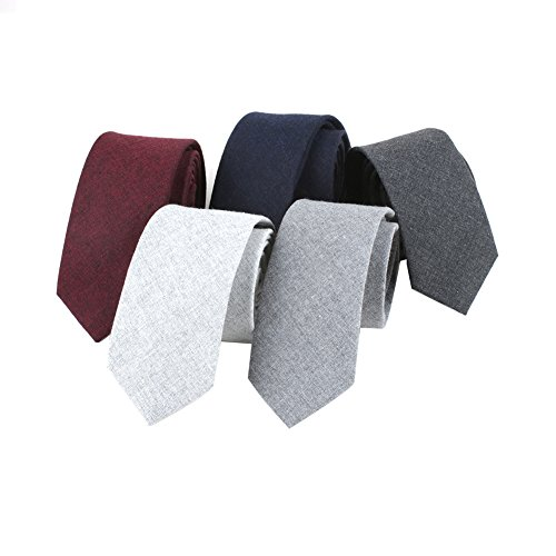 (Houlife Men's Cotton Solid Stripe Skinny Tie Slim Necktie For Wedding Party (Mix 2))