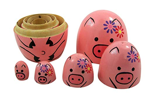 Japanese Pink Pig Stacking Nesting Doll, 4 Inch