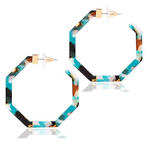 Acrylic Hoop Earrings Upgraded Geometric Resin Earrings Delicate Acetate Stud Dangle Earrings for Women Girls (E Blue Flower)