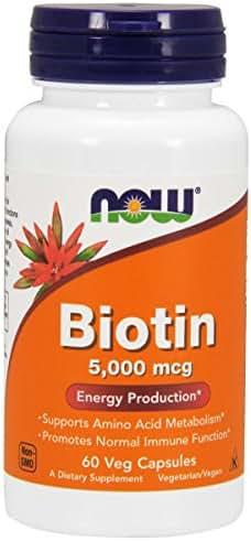NOW® Biotin, 5000 mcg, 60 Veg Capsules
