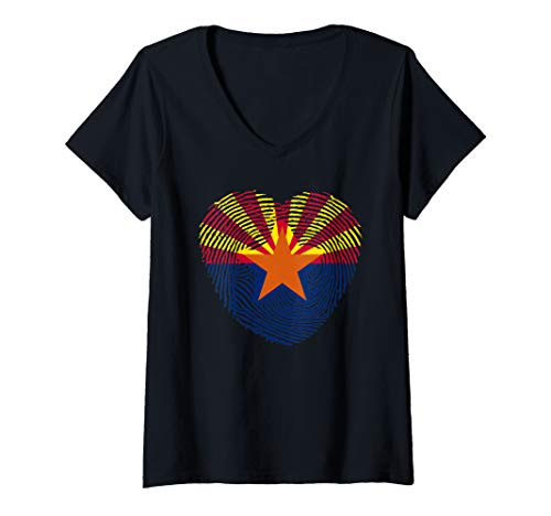 (Womens arizona  flag hearth retro vintage 4 of july man and woman  V-Neck T-Shirt)