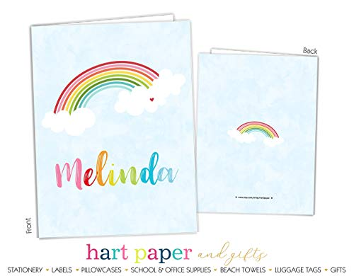 Rainbow 2 Pocket Folder Gift Name Back to School Supplies Teacher Office Birthday Girl Kids Custom Personalized Custom by Hart Paper