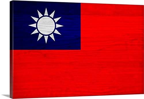 Canvas On Demand Philippe Hugonnard Premium Thick-Wrap Canvas Wall Art Print, 48'' x 32'', entitled 'Wood Taiwan Flag, Flags Of The World Series'