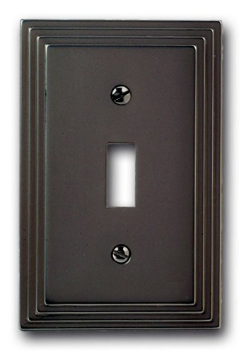 (Amerelle Steps Single Toggle Cast Metal Wallplate in Satin Nickel)