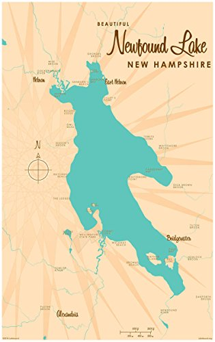 Newfound Lake New Hampshire Map Vintage-Style Art Print by Lakebound (30