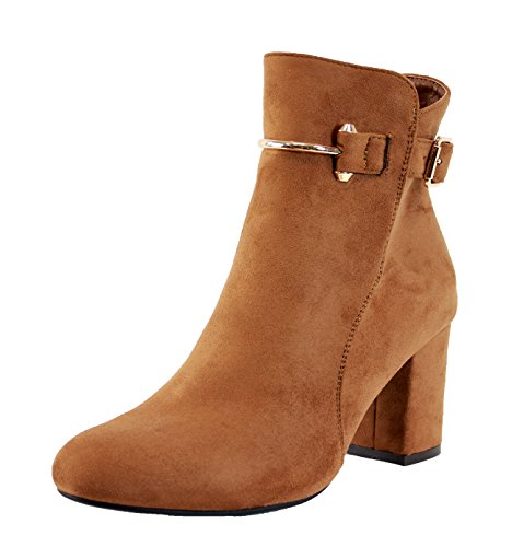 Larena Mode Des Nouvelles Femmes Dames Chaussures Bottines Boucle Talon Bloc Haut Zip Occasionnels Chameau