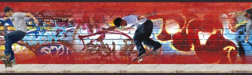 Hang Prepasted Wall Border - Brewster 258B75043 9-Inch Wide by 10-Foot Long Skateboarding Graffiti Wall Border, Rust
