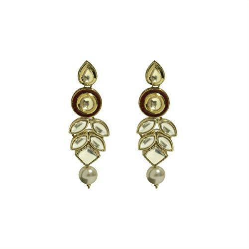 Faux Pearl Button Earrings (Dangling Earrings Indian Bollywood Faux Kundan Pearl Drop Traditional Jewelry for Women)