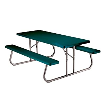 Lifetime 22123 Plastic 6 ft Foldable Picnic Table Hunter Green