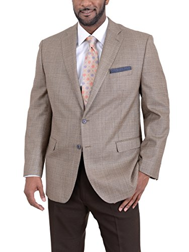 Ital Uomo Regular Fit Tan Stepweave Two Button Silk Wool Blend Blazer Sportcoat