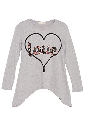 Hawain Outfit (Big Girls Long Sleeve Love Heart Graphic Uneven Handkerchief Tee Top USA Grey XL)