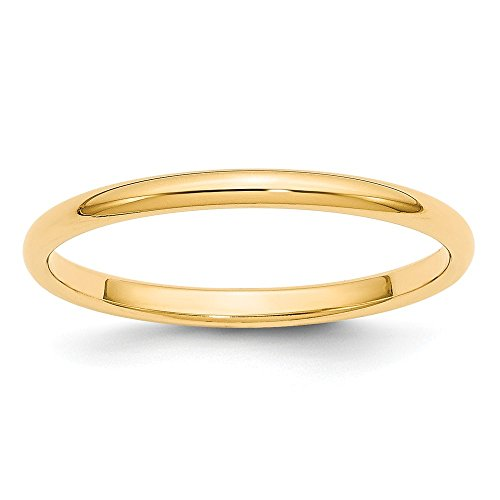 Jewelry Stores Network Solid 14k Yellow Gold 2 mm Classic Rounded Wedding Band Ring by Jewelry Stores Network