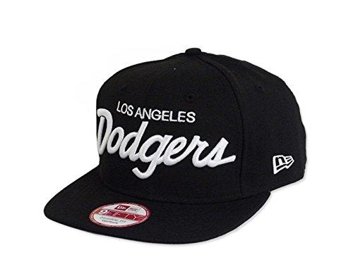 New Era Los Angeles Dodgers 9Fifty Black and White Logo Vintage Script Adjustable Snapback Hat MLB