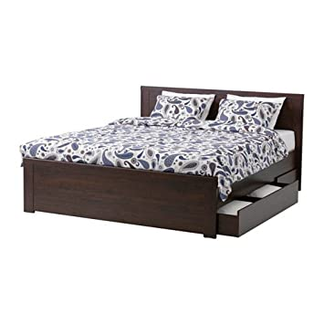 Amazon Com Ikea Queen Size Bed Frame With 4 Storage Boxes Brown