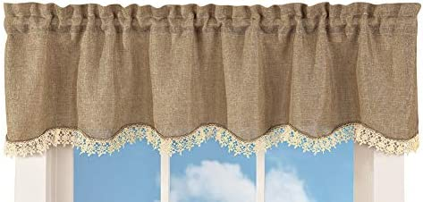 Burlap Lace Valance Rustic Primitive Country Scalloped Ruffle Beige Curtain