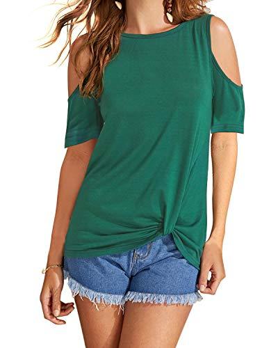 Eanklosco Women's Cold Shoulder Shirt Casual Short Sleeve T-Shirt Summer Twist Knot Front Tunic Tops (2XL, Dark Green)