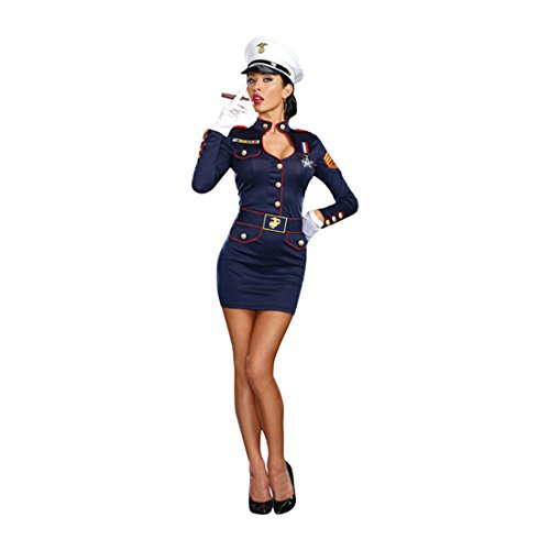 Dreamgirl Women's Take Charge Marge Military Captain Costume, Blue, (Charge Halloween)
